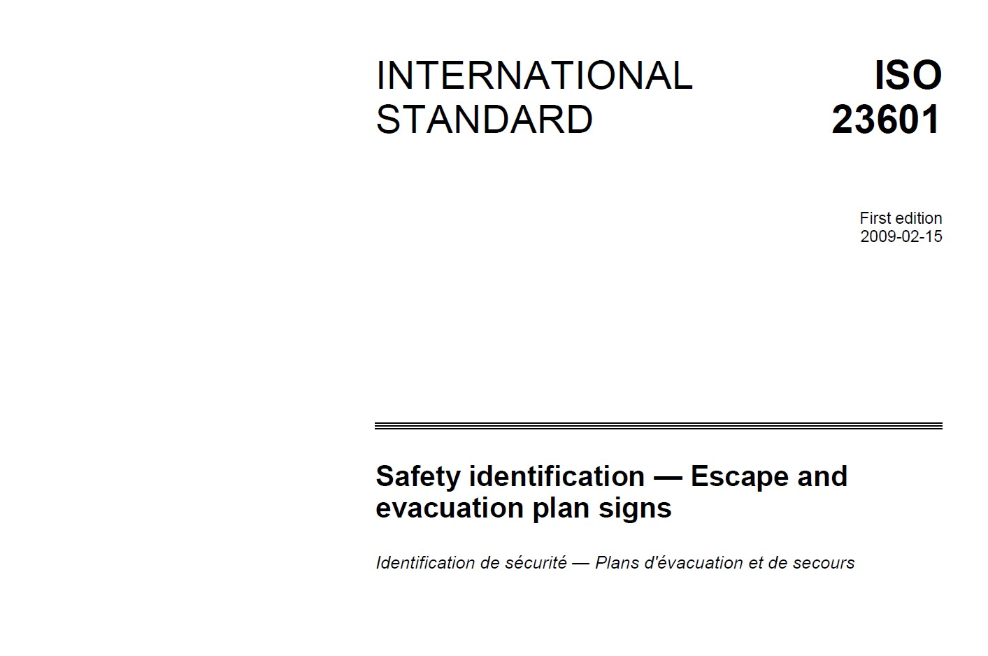 ISO 23601 Safety identification — Escape and evacuation plan signs